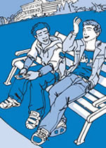 Close up of report cover featuring illustration of young people on a park bench