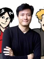Jorge Cham with characters from the PHD comics