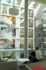 The central glass atrium of the Informatics Forum