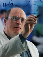 Professor David Leigh demonstrating molecular structures