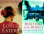 Book jackets for The Lotus Eaters by Tatjani Soli and Burying the Bones: Pearl Buck in China by Hilary Spurling.