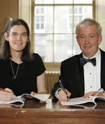 Professor Daphne Koller, Co-founder, Coursera and The Principal, Professor Sir Timothy O'Shea at the signing ceremony.