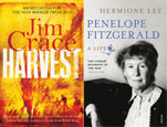 Book jacket images from Harvest by Jim Crace and Penelope Fitzgerald: A life by Hermione Lee