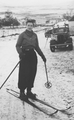 A female student on a skiing excursion