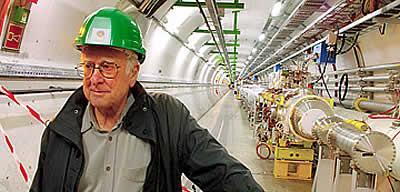 Prof Peter Higgs tours the Cern laboratories in Geneva.