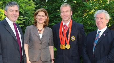 Prime Minister Gordon Brown, Sarah Brown, Chris Hoy and Professor Sir Timothy O'Shea at the Beijing reception.
