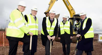 James Barbour, Jack Perry, John Swinney, Ian Wilmut and Tim O'Shea at the sod cutting.