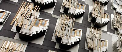 Detail of windows on the Scottish Parliament building