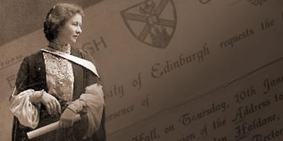 Eveline MacLaren in foreground over an invitation to a graduation ceremony.