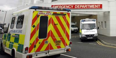 Ambulances outside an emergency department