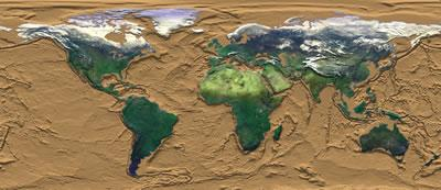 Image showing the topography of the ocean's bottom, indicating the location of plates and their boundaries in the earth's crust.