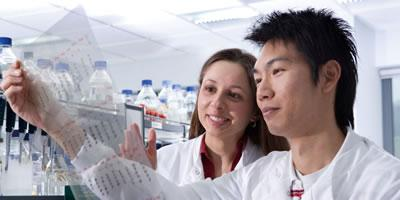Postgraduate research students in lab