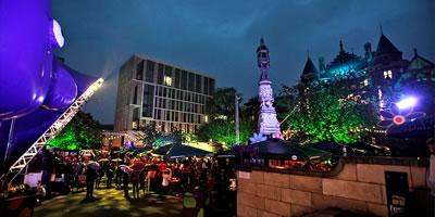 Bristo Square at night during the Festival