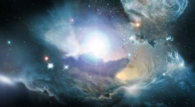 An artist's impression of the dark universe - in reality we cannot see dark matter or dark energy, but can infer its presence using astronomical techniques.