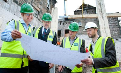 Michael Graham, Executive Chairman of GRAHAM Construction; Nigel Brown, Senior Vice Principal of The University of Edinburgh; Andy Kerr, Executive Director ECCI; Calum Duncan, Malcolm Fraser Archirects.
