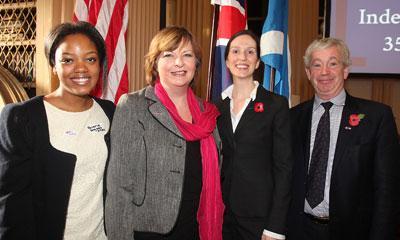 From left: Briana Degado, student; Fiona Hyslop, MSP; Zoja Bazarnic, Principal Officer of the US Consulate General; and Professor Sir Timothy O'Shea, University Principal