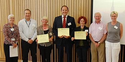 Winners and judges of the three minute thesis competition