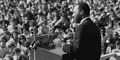 Dr Martin Luther King speaking against the Vietnam war, St Paul Campus, University of Minnesota.