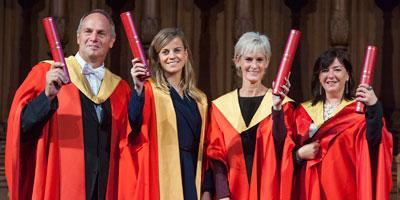 Sir Steve Redgrave, Susie Wolff, Judy Murray and Lynne Ramsay receive honorary awards from the University of Edinburgh