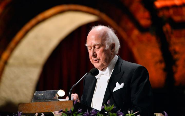 The 2013 Nobel Prize Laureate in Physics, Professor Peter Higgs, addresses the traditional Nobel gala banquet at the Stockholm City Hall.