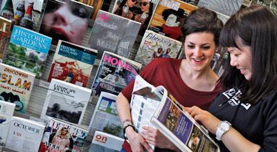 Art students reading magazines