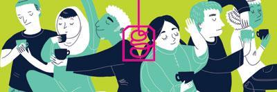 Illustration of international students drinking tea