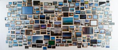 Photo of art exhibition: Erased UFOs by AR Hopwood. Photograph: Steve Tanner.