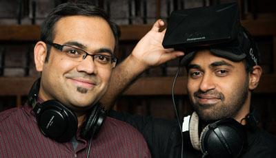 Photo of Abesh Thakur and Varun Nair, founders of Two Big Ears Ltd, a company that designs immersive and interactive audio applications and tools, with a focus on mobile and emerging technologies