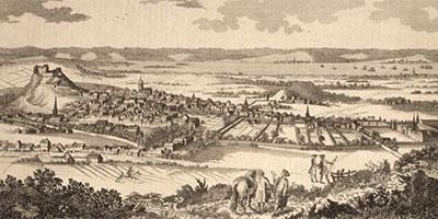 Historical illustration of the castle and city of Edinburgh
