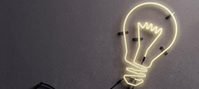 Photo of a light bulb shaped neon tube
