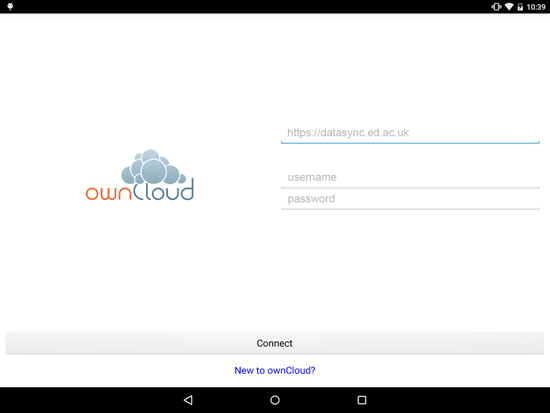 Setting up the ownCloud Android app | The University of