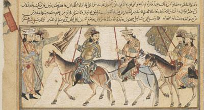 Detail from Rashid al-Din showing the Samanid king Al-Muntasir crossing the frozen river Jayhun (Syr Darya) in central Asia