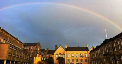 Photo of Moray House with rainbow overhead