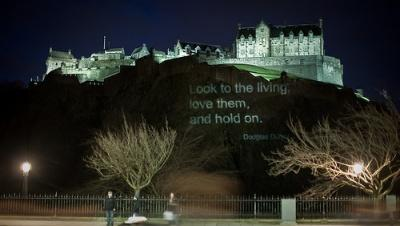 Distant view of Edinburgh Castle at night