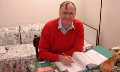 Frank Stewart hard at work