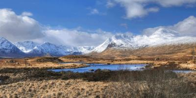Scottish moore with snowy mountains in background