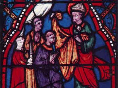 Stained glass of St Sidonius in Clermont cathedral
