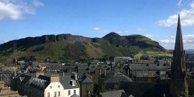 Skyline with Arthurs seat in the background on a sunny day