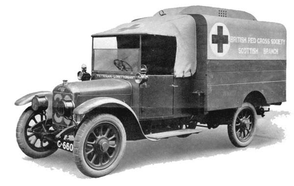 An ambulance donated by Fettes College and Loretto School