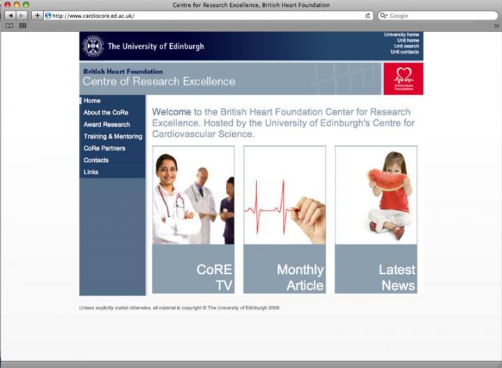 BHF CORE webpage
