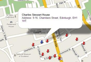 Map showing Charles Stewart House