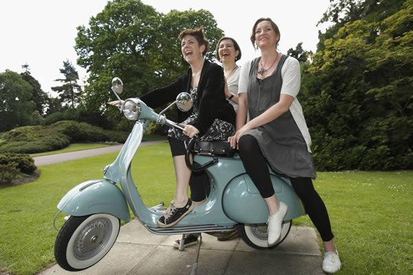 Daniela Nardini, Annie Griffin and Denise Mina on a scooter