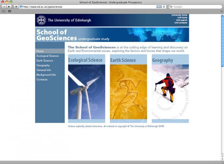 Geoscience webpage