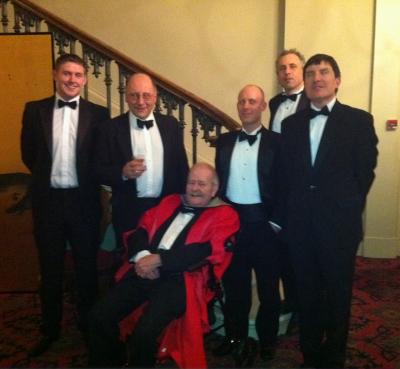 Prof Eric Hamp with staff