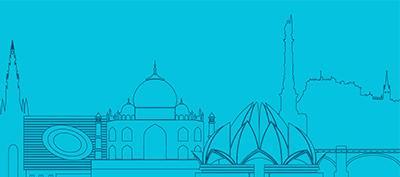 Graphic showing India and Edinburgh landmarks