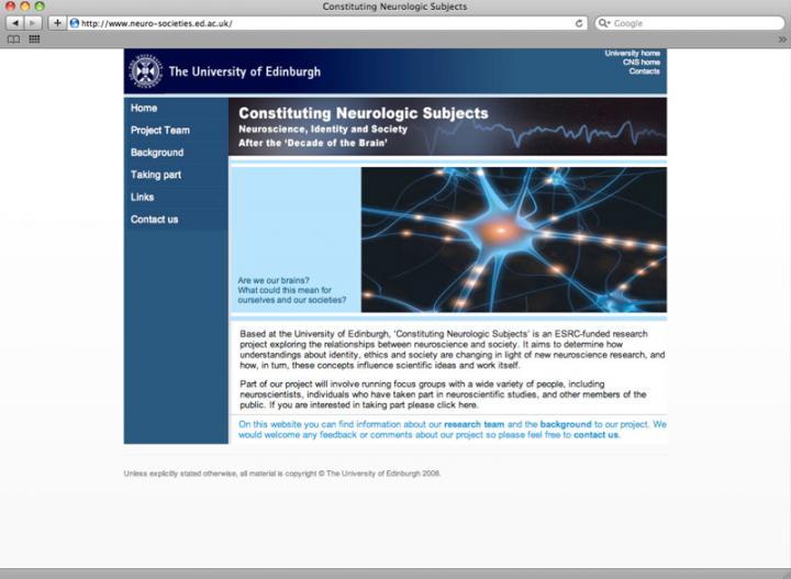 Neuroscience webpage