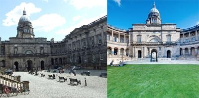 Old College quad then and now