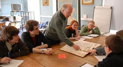 Ian Fraser with the Blaeu Atlas in a Scottish Ethnology 2 class