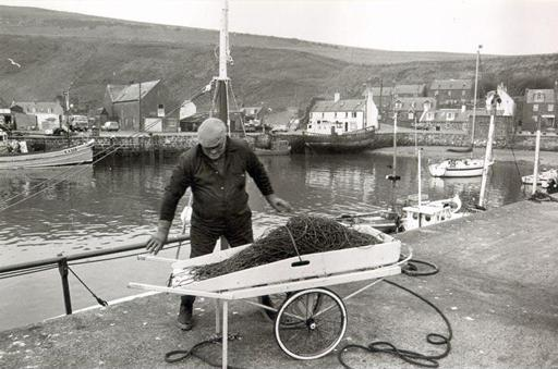 Fisherman, Bob Mellis, at Gourdon harbour in 1985