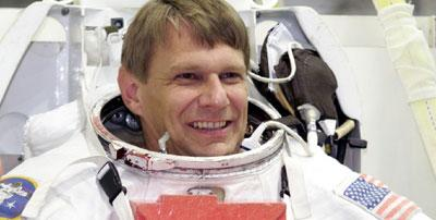 Dr Piers Sellers in a spacesuit